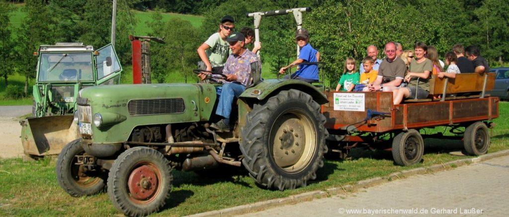 Bayerischer Wald Erlebnisbauernhof mit Traktor fahren